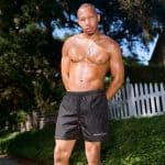 Abella Danger x Brazzers Men's Swim Shorts Color Black Logo left leg side and back pockets elastic drawstring waist